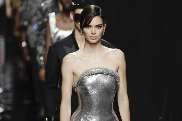 milan, italy february 21 kendall jenner walks the runway during the versace fashion show as part of milan fashion week fallwinter 2020 2021 on february 21, 2020 in milan, italy photo by john phillipswireimage
