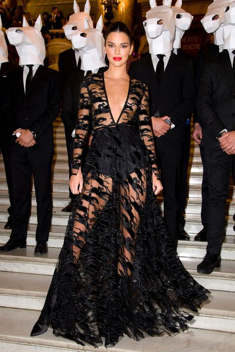 Kendall Jenner wears daring sheer gown to Longchamp event in Paris