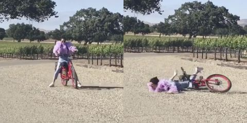 Kendall Jenner fell off her bike and Khloe Kardashian caught the whole thing on video
