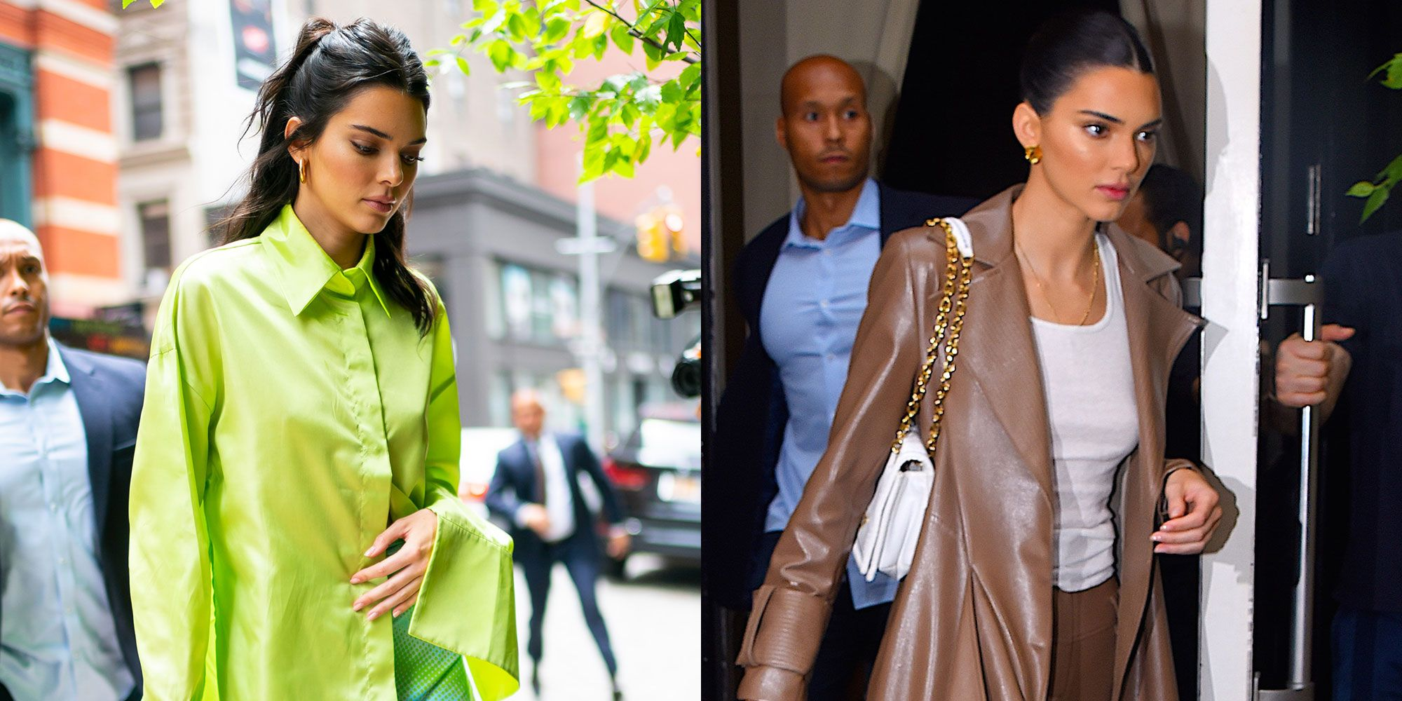 Kendall Jenner Wears Neon Green and All Brown Rainy Day