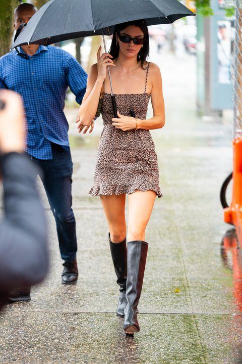 Kendall Jenner Wears A Tiny Leopard Print Mini Dress In