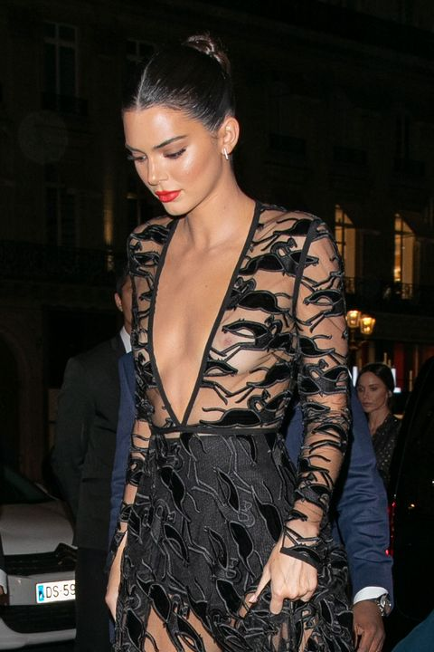 5100f5bbd0fa6 Kendall Jenner wears daring sheer gown to Longchamp event in Paris