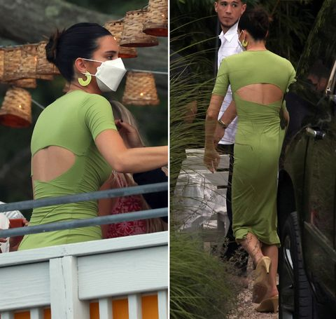 Kendall Jenner in green sundress at her tequila party in the Hamptons