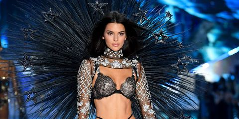 5ab150cc6ce Kendall Jenner Wore Star Wings and Plaid Lingerie at Victoria s ...