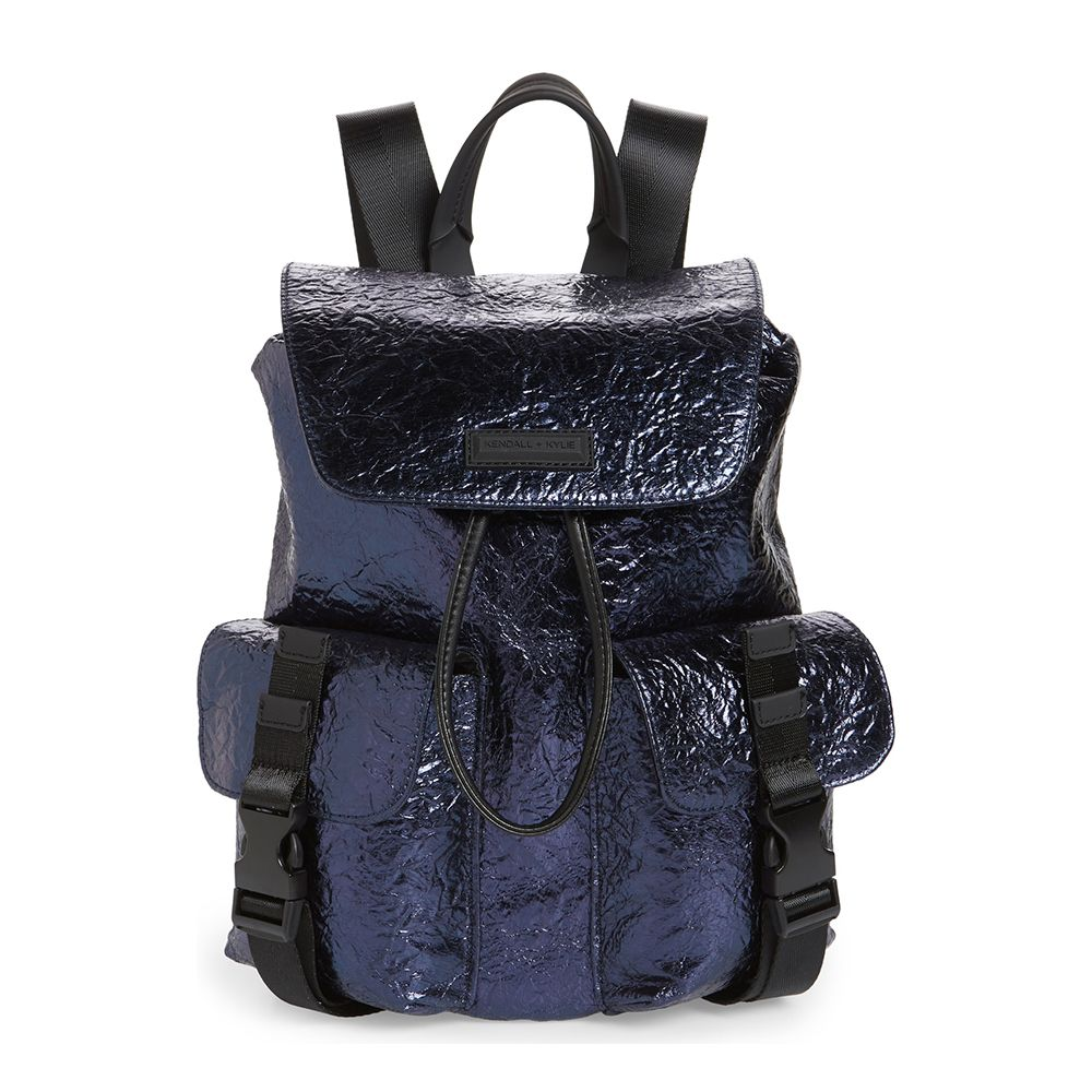kendall and kylie metallic blue backpack