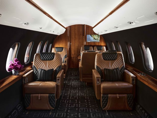 bombardier global express plane, brown leather chairs