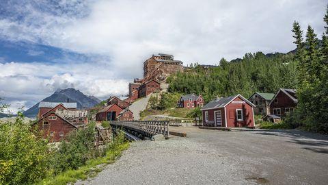 kennecott abandoned copper mining camp view, alaska