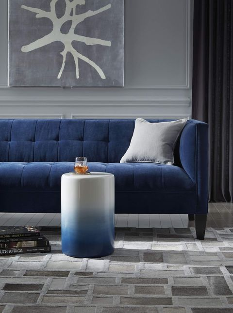 Mitchell Gold + Bob Williams blue couch