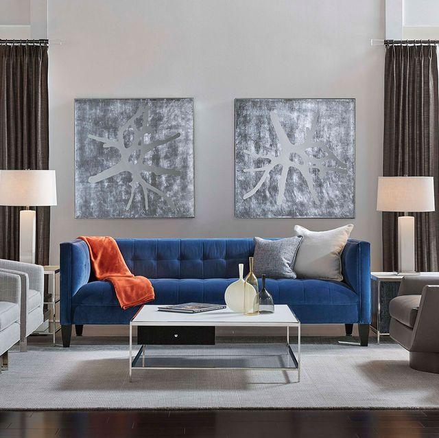 Mitchell Gold + Bob Williams blue velvet sofa