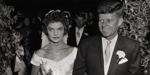 Mr. and Mrs. John F. Kennedy Walking Arm in Arm