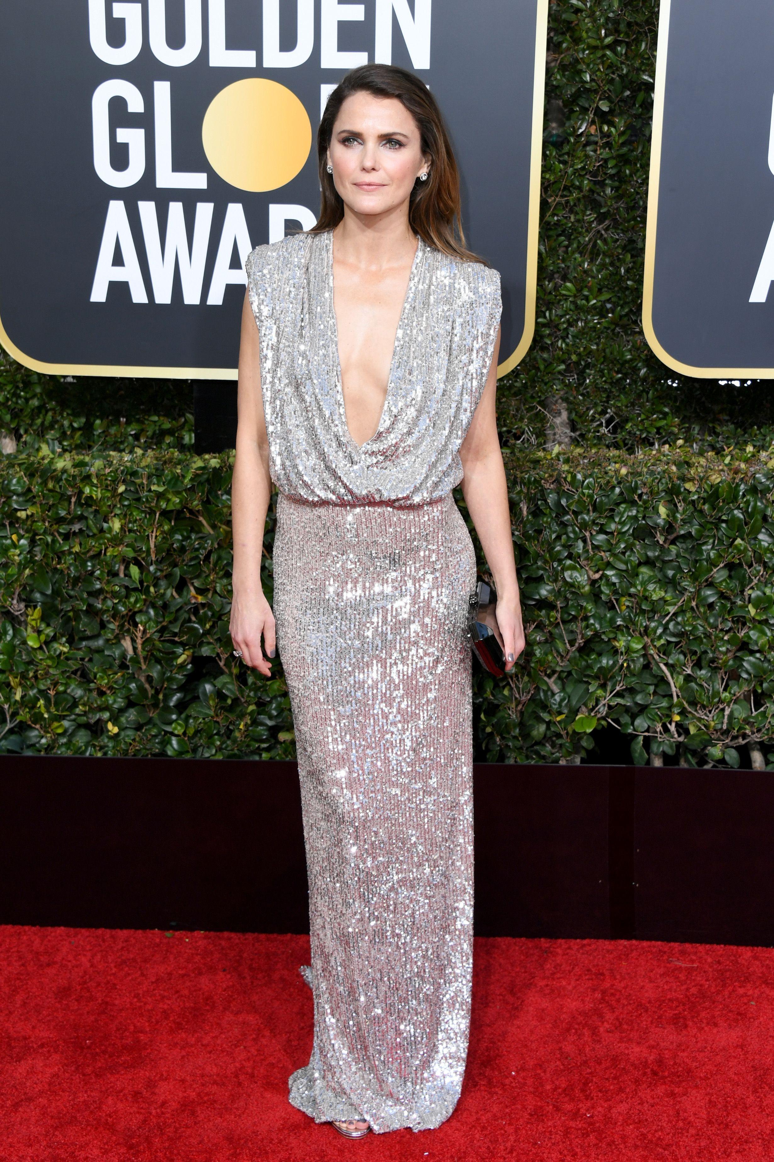 a4c249b45b Keri Russell Wore a Metallic Plunging Neckline Dress to the 2019 Golden  Globes