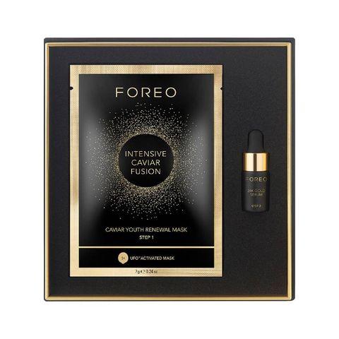kerst cadeau beautyset giftset foreo ufo mask  serum intensive caviar fusion   gezichtsmasker  serum verzorgingsset