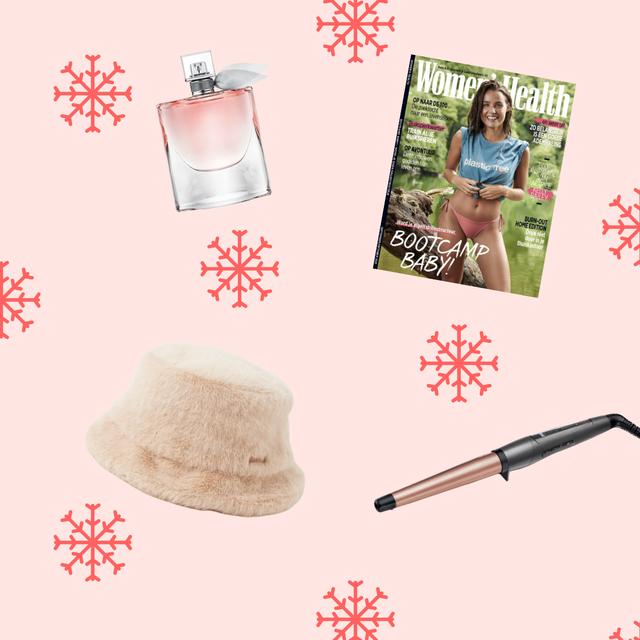 kerstcadeaus vrouwen krultang, bucket hat, magazine, luchtje