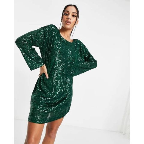 asos design   mini jurk met lovertjes, lange mouwen en v rug in bosgroen