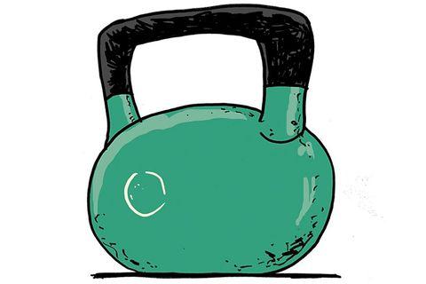 Weights, Kettlebell, Exercise equipment, Green, Sports equipment,