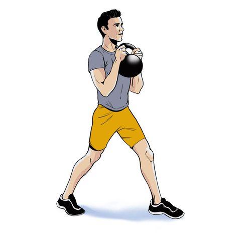 illustration of man carrying sandbag, kettlebell, weight on his back