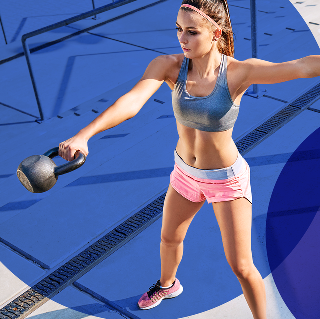 woman outside on steps wearing sports bra shorts and sneakers swinging kettlebell