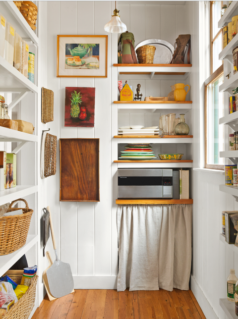 yellow and white kitchen pantry