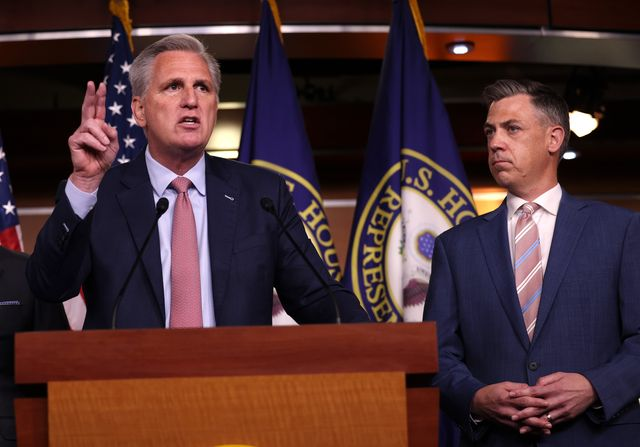 washington, dc   july 21 house minority leader kevin mccarthy r ca l speaks alongside rep jim banks r in at a news conference on house speaker nancy pelosi's decision to reject two of leader mccarthy's selected members from serving on the committee investigating the january 6th riots on july 21, 2021 in washington, dc speaker pelosi announced she would be rejecting rep banks and rep jordan's assignment to the committee photo by kevin dietschgetty images