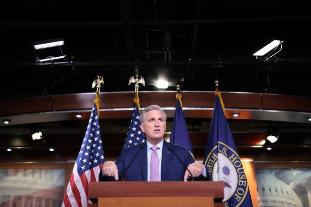 washington, dc   june 25 house minority leader kevin mccarthy r ca answers questions during his weekly news conference at the us capitol june 25, 2021 in washington, dc mccarthy answered a range of questions during his press conference related to pending the establishment of a select committee investigate the attacks on the capitol on january 6, infrastructure legislation, inflation fears in the us economy, and other topics photo by win mcnameegetty images