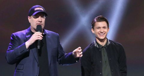 Kevin Feige and Tom Holland in 2017