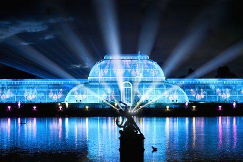 Blue, Reflection, Water, Light, Landmark, Architecture, Night, Lighting, Technology, Symmetry,