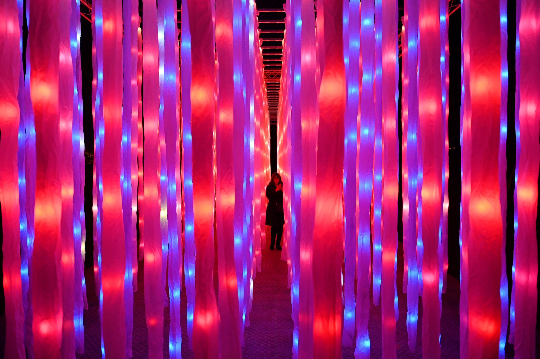 en besøgende går gennem en let installation med titlen 'vinstokke