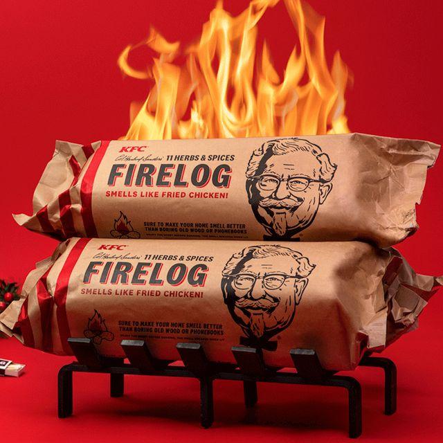 kfc 11 herbs  spices fried chicken firelog