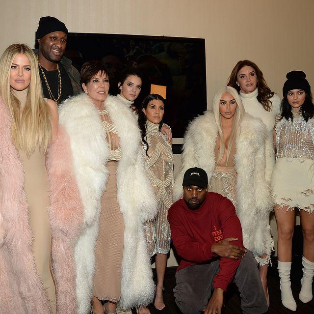 kanye west yeezy season 3   backstage new york, ny   february 11 khloe kardashian, lamar odom, kris jenner kendall jenner, kourtney kardashian, kanye west, kim kardashian west, caitlyn jenner, kylie jenner attend kanye west yeezy season 3 at madison square garden on february 11, 2016 in new york city