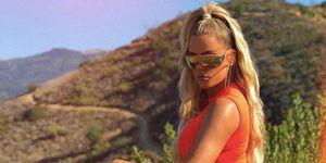 Khloe Kardashian Yeezy season 7 orange spandex