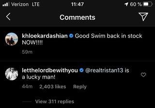 scott's comment about tristan on khloé's ig