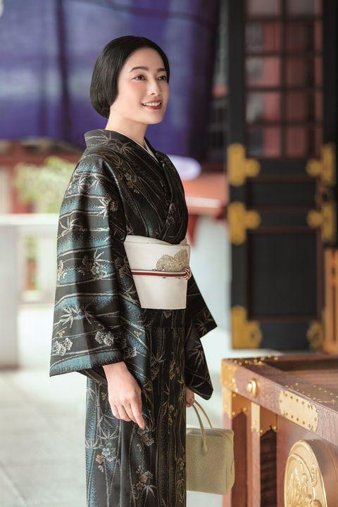 着物,帯,初詣,大島紬
