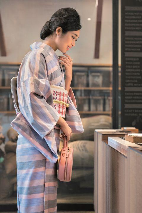 ピンク,紬,着物,美しいキモノ,旬カラー