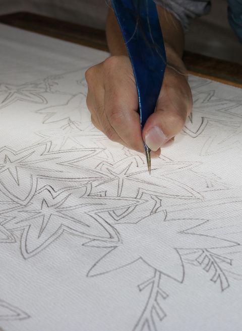美しいキモノ2020年秋号表紙の着物 染の百趣矢野 小袖写し 糊置き 糯糊 真糊 小袖雛形