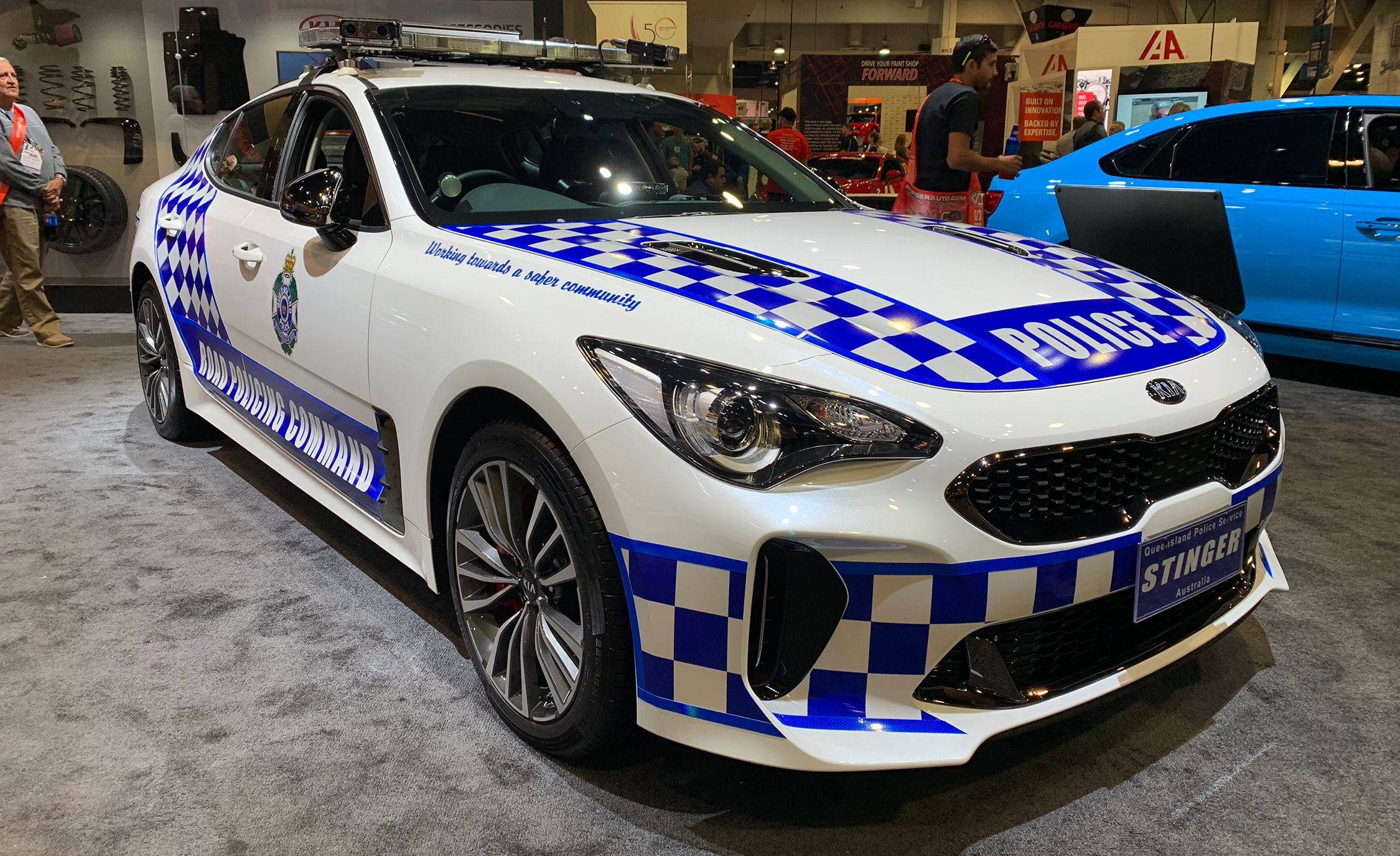kia stinger pulled up for duty in an australian police department painless wiring harness kia stinger australian police car