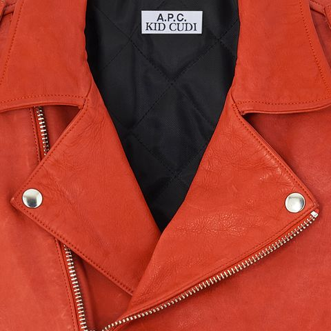Orange, Clothing, Outerwear, Red, Leather, Collar, Button, Jacket, Sleeve, Textile,