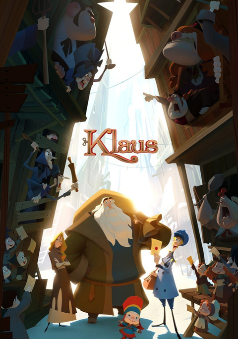 a movie poster showing an old man with a long white beard with a sack over his shoulder and townspeople all around