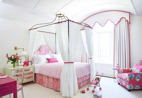 Decoration, Bed, Furniture, Canopy bed, Room, Product, Bedroom, Pink, Bed frame, Property,