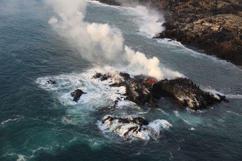 Kilauea volcano forms small island