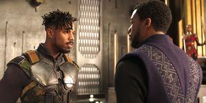 Michael B. Jordan as Erik Killmonger, Chadwick Boseman as T'Challa Black Panther