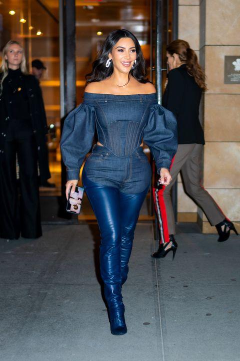 Kim Kardashian Wears Leather and Denim Chaps by Burberry