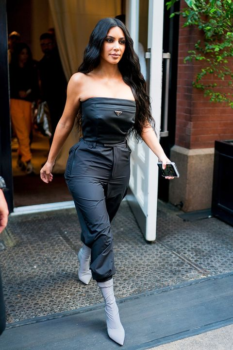 f35c065260cb Kim Kardashian Wears Tight-Fitting Gray Jumpsuit — Kim K Makes First ...