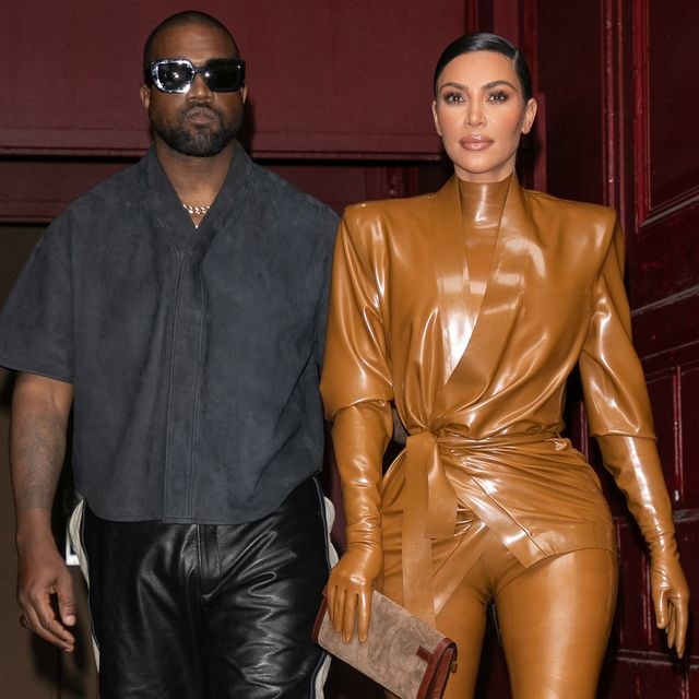 paris, france   march 01 kim kardashian west and husband kanye west leave kwests sunday service at theatre des bouffes du nord   paris fashion week womenswear fallwinter 20202021 on march 01, 2020 in paris, france photo by marc piaseckiwireimage