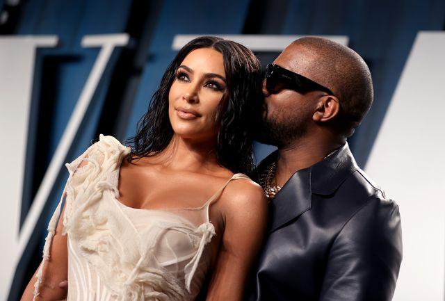 kim kardashian y kanye west en la fiesta vanity fair 2020