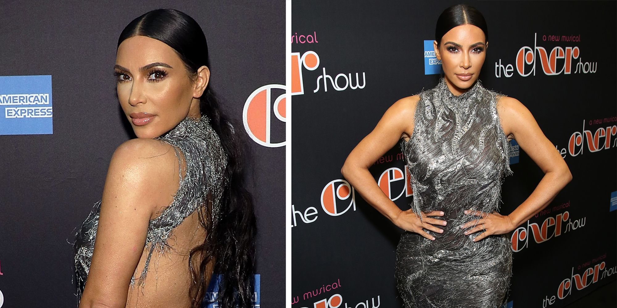 d3cc784bd2579 Kim Kardashian just wore a completely backless party dress to the opening  of The Cher Show on Broadway