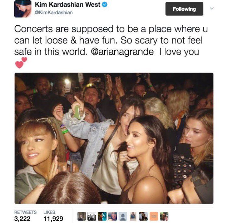 Haters rile up at Kim Kardashian over a tweet she posted about the Manchester terror attack