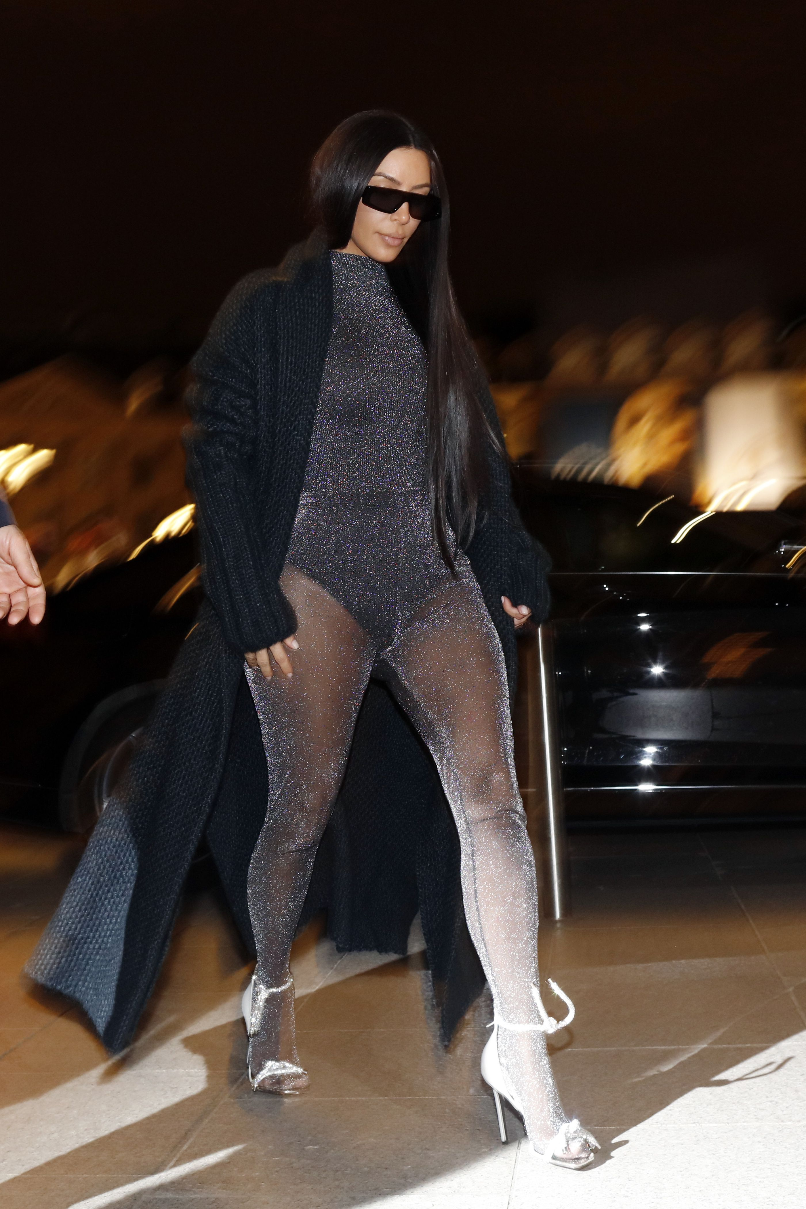 Kim Kardashian West Just Wore A Sparkly Transparent Unitard In Paris