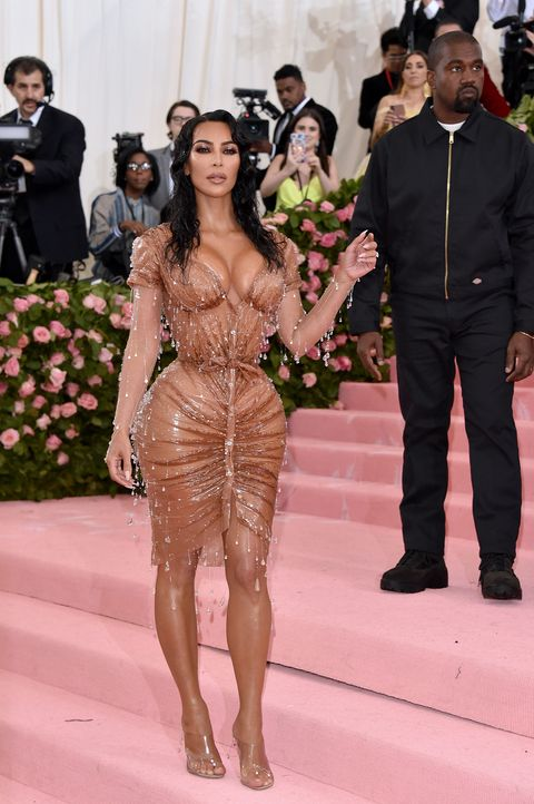 Kim Kardashian Hits The 2019 Met Gala Red Carpet In Wet See Through