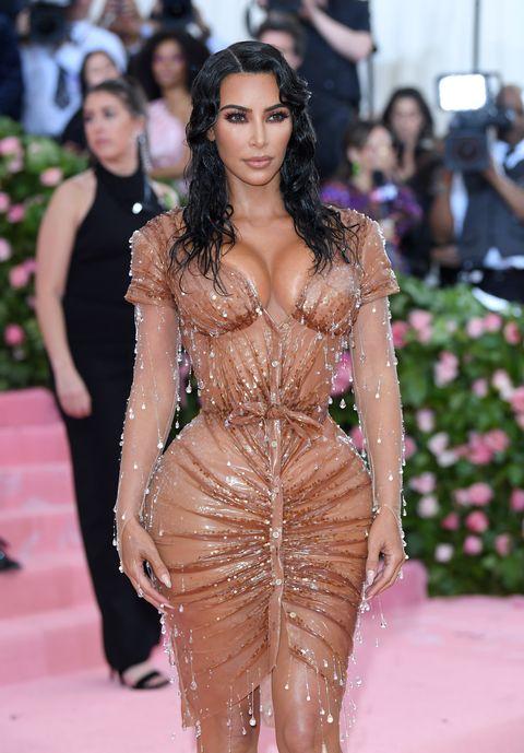 Kim Kardashian Wore A Blue Latex Dress And Metallic Wig To