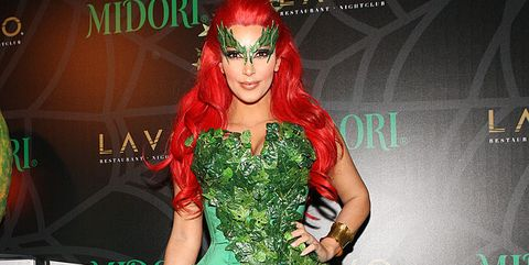 Green, Clothing, Fashion, Poison ivy, Supervillain, Dress, Costume, Fictional character, Flooring, Fashion design,